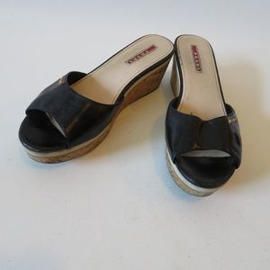 PRADA BLACK LEATHER CORK WEDGE SLIDES SIZE 39/9